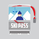 Ski pass template with barcode vector illustration