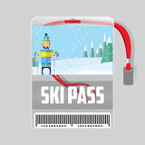 Ski pass template with barcode in plastic holder with red ribbon. vector illustration