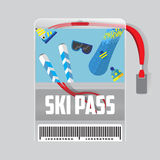 Ski Pass Template With Barcode. Red Ribbon .equipment for winter holidays.Flat Design stock image