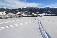 Ski path across meadow in mountains Royalty Free Stock Photography