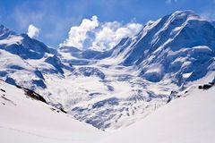 Ski Path at Swiss Alps Stock Photo