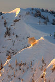 Ski patrol avalanche explosion royalty free stock images