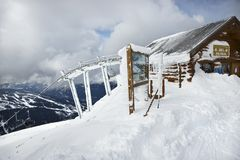 Ski patrol office. At top of slope in Whistler, Canada Stock Image