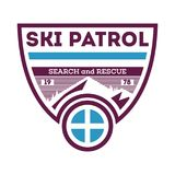 Ski patrol, search and rescue label Royalty Free Stock Photos