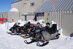 Ski patrol ski-doos. Ski patrol ski doos parked up on whistler mountain, Canada Feb 2012 Royalty Free Stock Photography