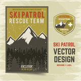 Ski patrol vector brochure and label. The camp concept of flyer for your business, web sites, presentations, advertising Stock Photography