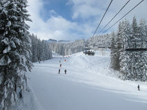 Ski piste and chair lift. With snow covered trees on sunny day. Combloux ski area, French alps Royalty Free Stock Photos