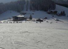 Ski piste in den Alpen Stockfotos