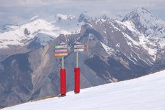 Ski piste direction signs Royalty Free Stock Images