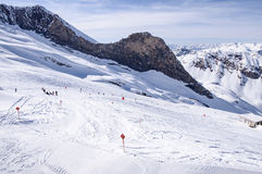 Ski piste on Hintertux glacier Royalty Free Stock Photography