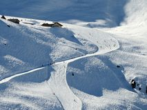 Ski Piste im Skigebiet Hoch Zillertal, Österreich, Tirol Lizenzfreie Stockfotos