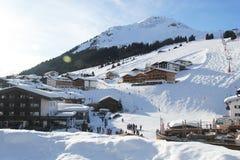 Ski Piste in Lech, Österreich lizenzfreies stockfoto