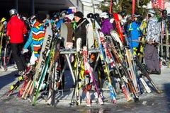 Ski piste winter sport Alps Stock Images
