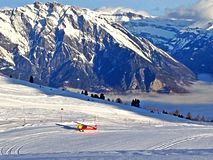 Ski plane in the Alps Stock Photos