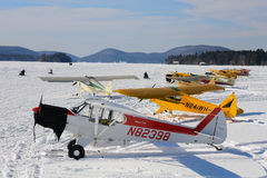 Ski plane gathering Stock Photos
