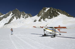 Ski plane - Mount Cook - New Zealand. Ski plane landing on the snowfields of Mount Cook in New Zealand Royalty Free Stock Images