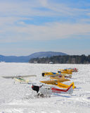 Ski planes gathering Stock Images