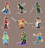 Ski player stickers Royalty Free Stock Images