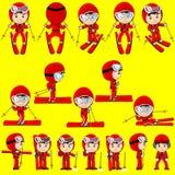 Ski player vector. Red ski man player cartoon vector Stock Photo