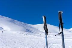 Ski poles on the mountain Falakro, in Greece. Stock Photos