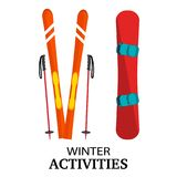 Ski, poles, snowboard flat vector illustration, isolated on whit Royalty Free Stock Photography