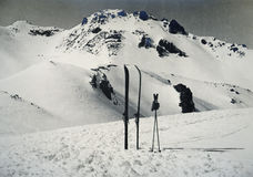 Ski and poles on Sorel Pass, Italy 1939 Royalty Free Stock Images