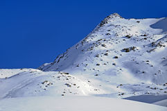 Ski prints in the montains. Ski tracks in immaculate snow in January. Val Thorens. France royalty free stock images