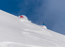 Ski profond de poudre Photographie stock
