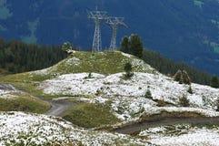 Ski Pylon en el scheidegg de kleine imagen de archivo