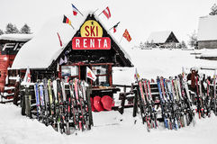 Ski rental equipment Royalty Free Stock Images