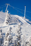 Ski resort. Beautiful nordic ski resort with ski lifts Royalty Free Stock Images