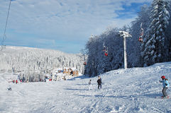 Ski resort. With few skiers Royalty Free Stock Photography