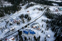 Ski resort. View of the ski resort from a height of in-flight Stock Photo