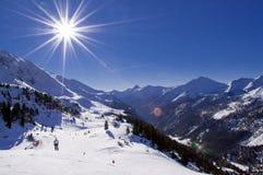 Ski resort. Ski slope in Obertauern resort in Austrian Alps Stock Photos