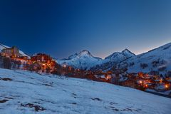Ski resort in Alps Royalty Free Stock Image