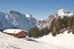 Ski resort in alps. Mountain ski resort with snow in winter, Pertisau am Achensee, Alps, Austria Stock Images