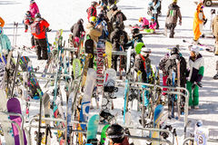 Ski resort. Arapahoe Basin, Colorado, USA-January 18, 2015. Mid season skiing at Araphoe basing ski resort Royalty Free Stock Image
