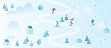 Ski Resort avec des skieurs Fond de style de carte de ski de montagne Le village d'hiver loge la station de vacances avec des per Images stock