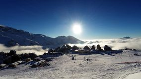 The ski resort of Avoriaz in the  Alps, stock video footage