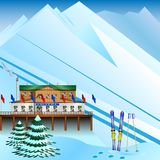 Ski resort on the background of mountains. Vector Illustration Stock Photography