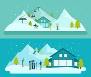 Ski Resort Banner Set illustration de vecteur