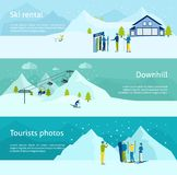Ski Resort Banner Set. Ski resort horizontal banner set with people with sport equipment isolated vector illustration Stock Photography