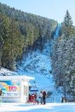 Ski resort Bansko, Bulgaria, people, mountains view, sun Stock Photos