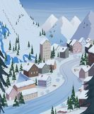 Ski resort. Beautiful landscapes with mountains, houses, hotels, fir trees and ski lift. Stock Photography