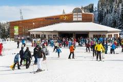 Ski resort, cable car lift station, Bansko, Bulgaria Stock Images