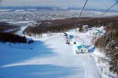 Ski resort cable road view Royalty Free Stock Image