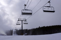 Ski resort chair lift Royalty Free Stock Photos