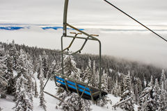 A Ski Resort Chairlift in Winter Royalty Free Stock Image