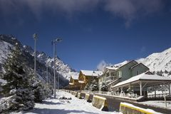 Ski resort Chimbulak. Chimbulak ski resort is located in the mountains of Zailiysky Alatau near Almaty Stock Image