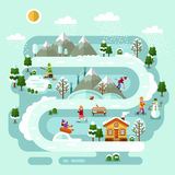 Ski resort concept. Flat design vector nature winter landscape illustration with house, girls and boys skiing and ice skating, pond winter fishing, snowman Royalty Free Stock Images